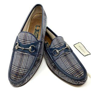 GUCCI 1953 Luxury Blue Plaid SilverBit Loafer
